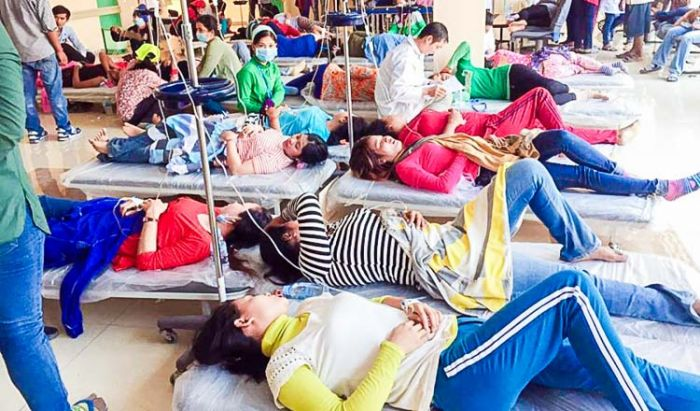 縫製工場で勤務していた約50人が栄養失調のため病院へ搬送
