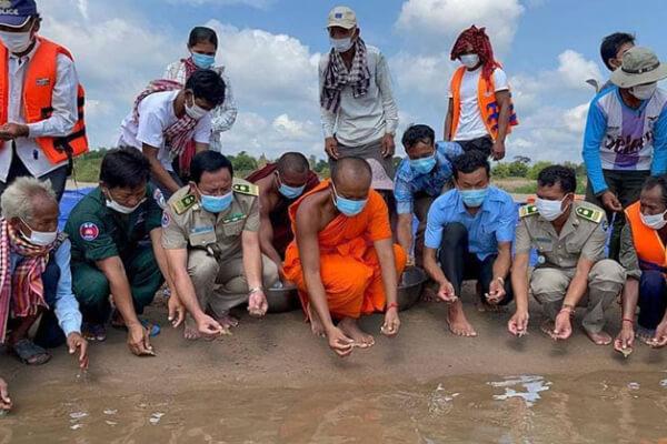 絶滅危惧種のマルスッポン100匹、メコン川に放流
