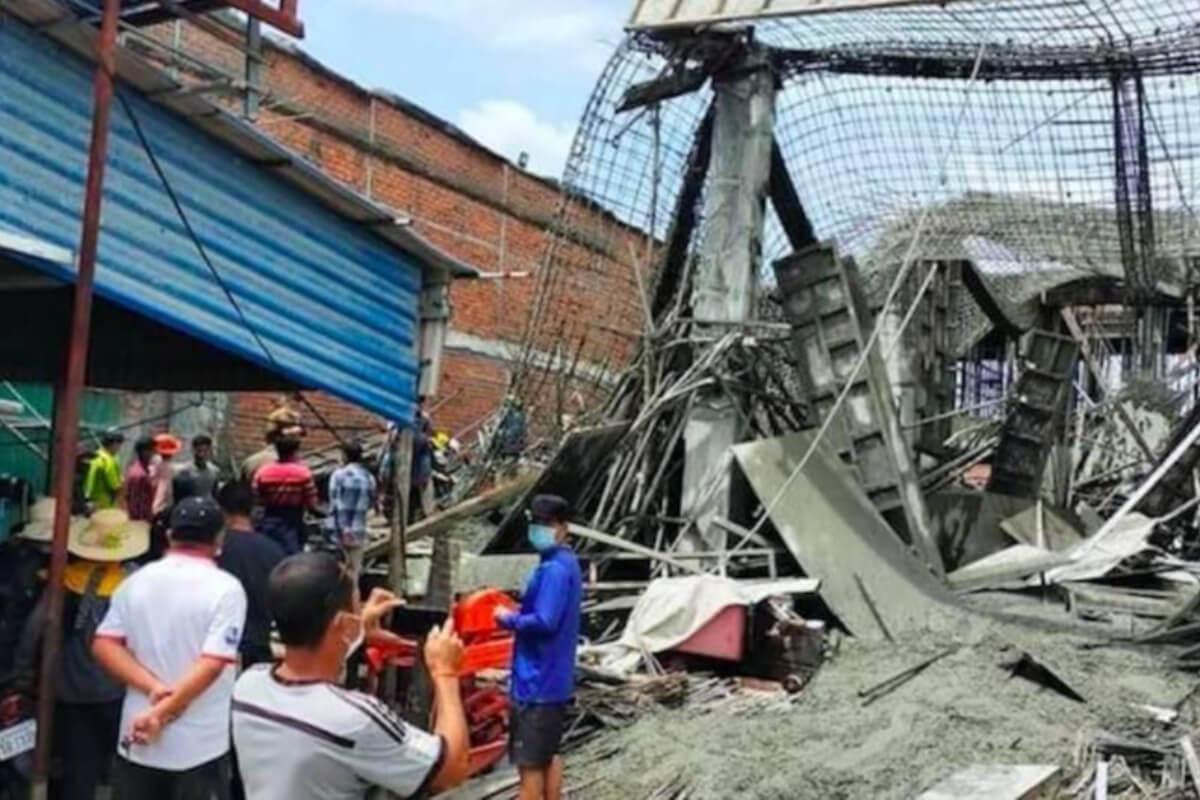ポイペトで建設中の建物が倒壊、1人重傷、10人が軽傷