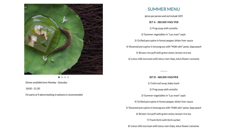 ハノイのタイホーに佇むモダンベトナム料理レストラン「ラシェリー(La Cherie)」のメニュー