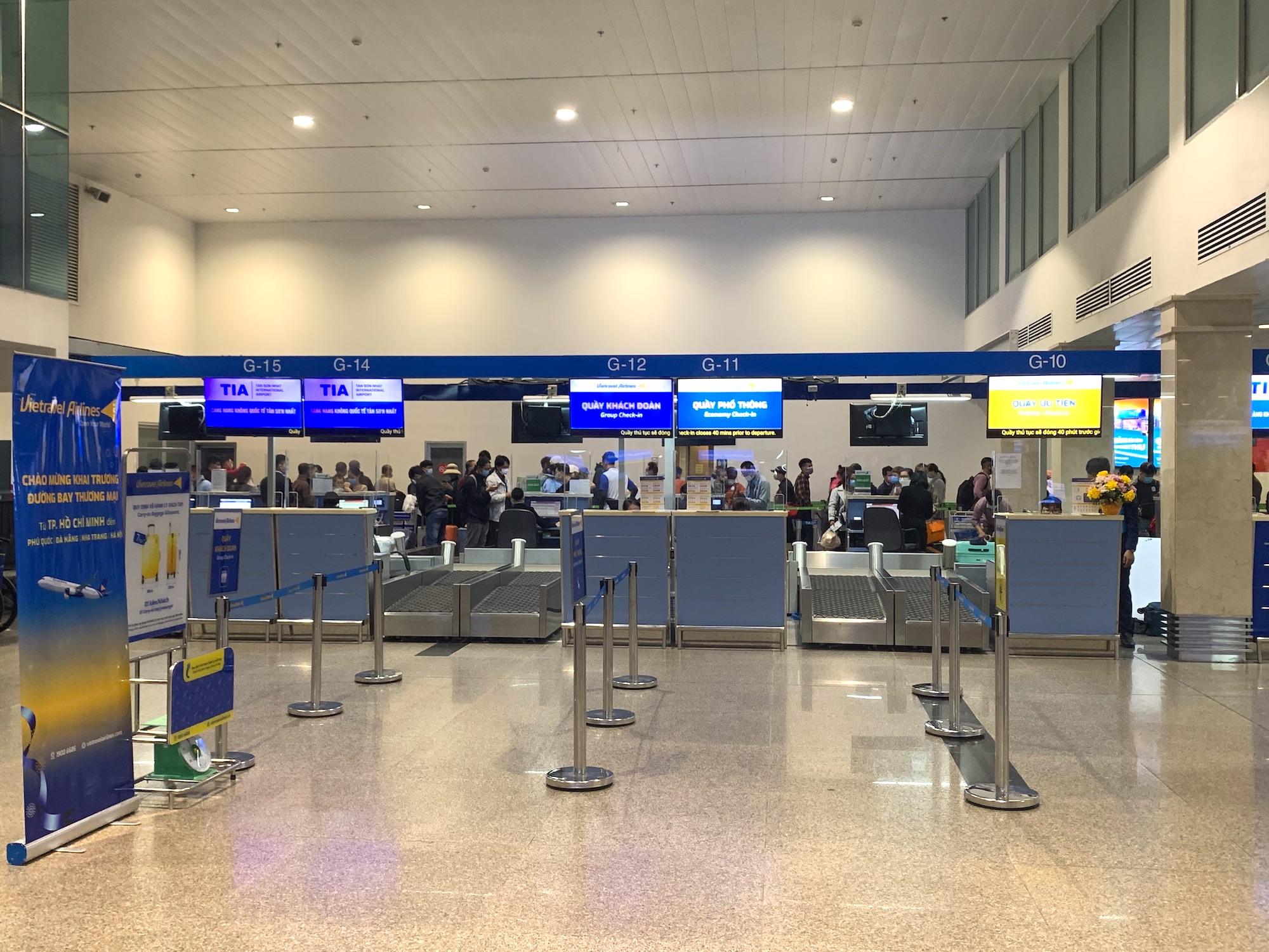 ホーチミン・タンソンニャット国際空港のベトトラベル航空のチェックインカウンター