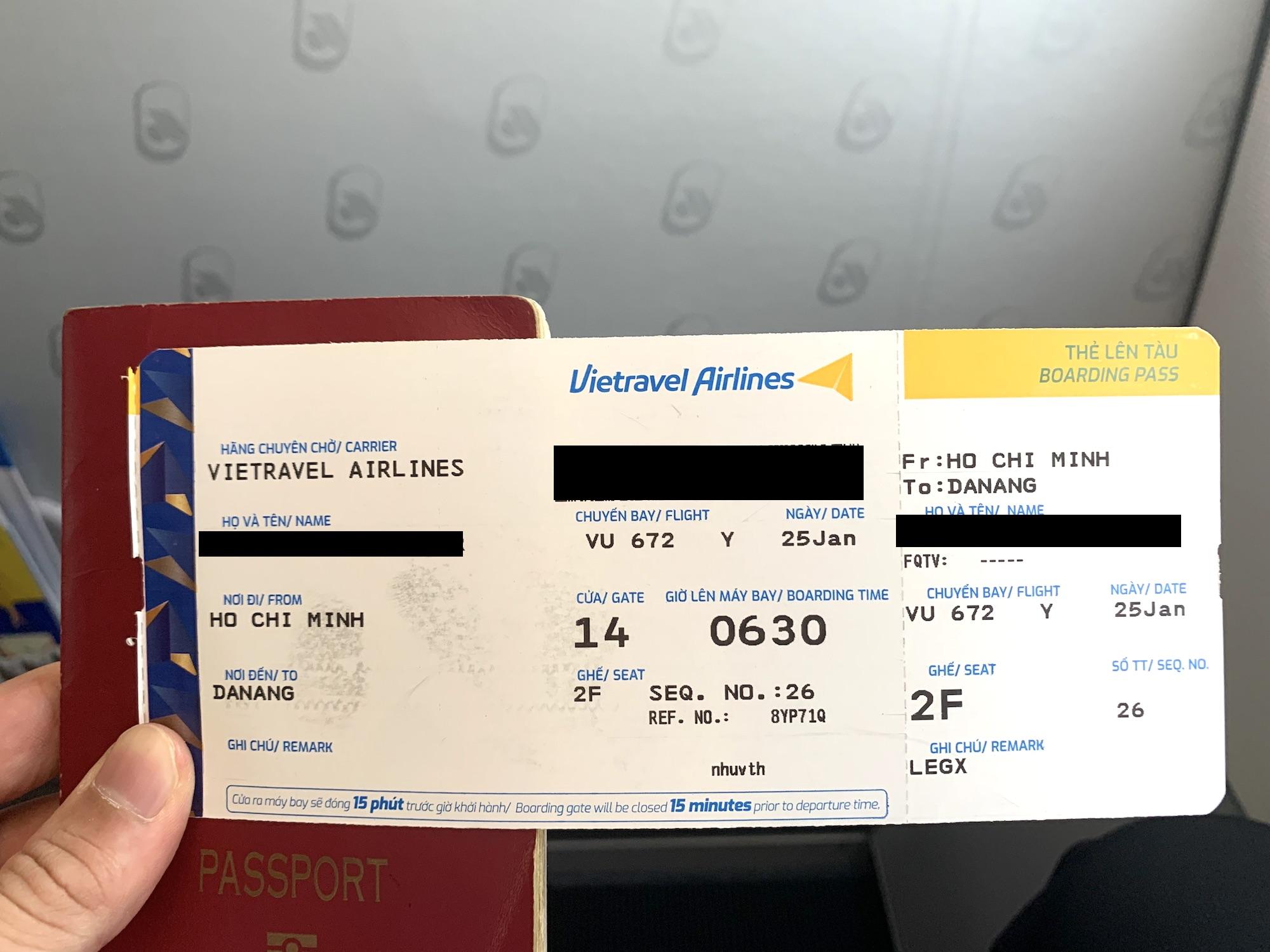 ベトトラベル航空が就航。ホーチミン〜ダナン線に搭乗