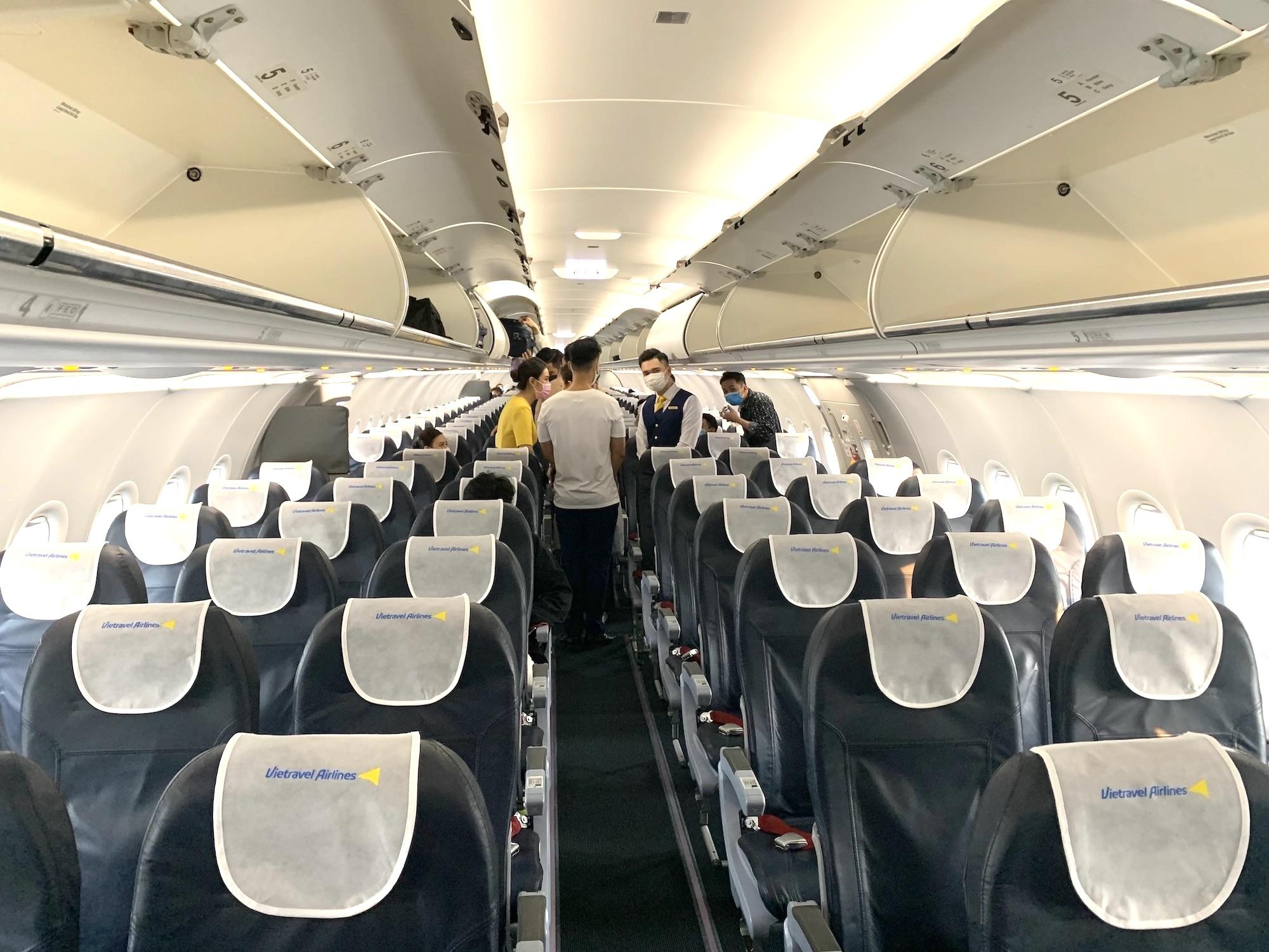 ベトナムの新規航空会社であるベトトラベル航空の機内