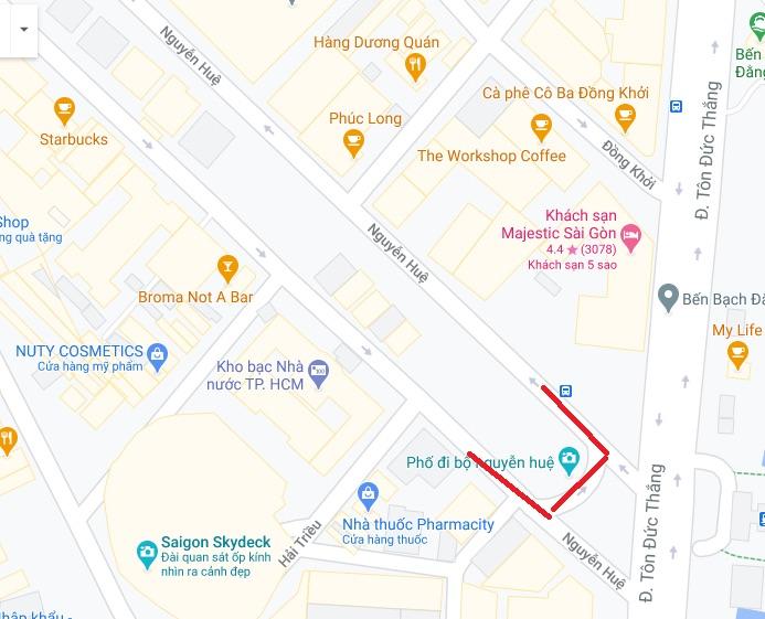 テトに交通規制があるNguyen Hue通り(グエン・フエ通り)