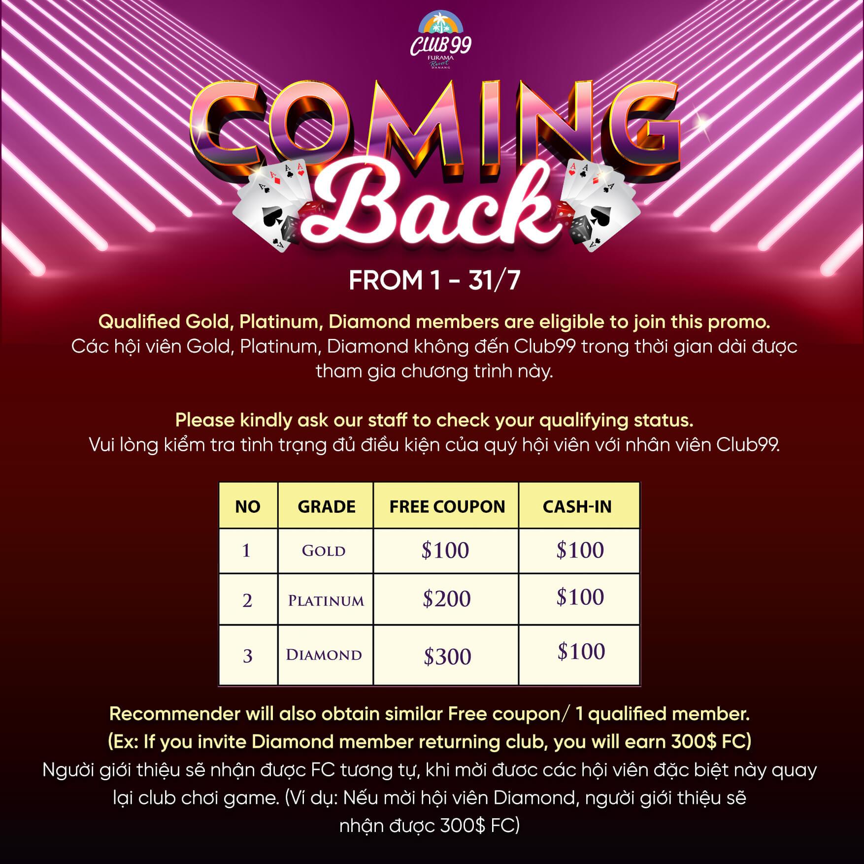 ダナンのカジノ「クラブ99(Club99)」では6月にカミングバックキャンペーン実施中