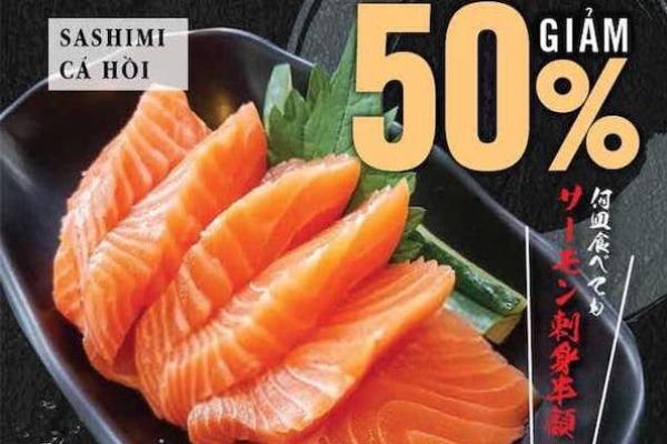 【2号店限定】土日はサーモン刺身が半額!! 何個食べてもOK!